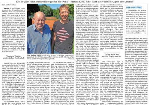 Aus der Presse: Große Tage beim Tennisclub Waging